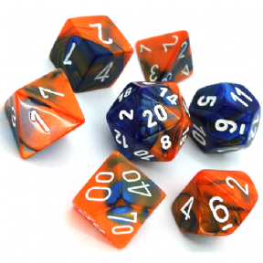 Blue & Orange Gemini Polyhedral 7 Dice Set